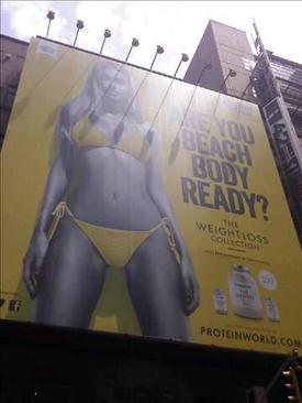 Billboard Protein World na Time Square v New Yorku.